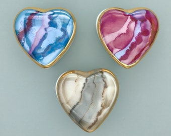 Heart Shape Covered Porcelain Box for Engagement Ring, Tooth Fairy, Tea Party Favor, Gift for Girls - Beige, Blue, Pink