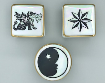 Covered Ceramic Engagement Proposal Ring Box - Dragon Tooth Fairy Box, North Star Trinket Dish with Lid, Baby Face Moon Shower Favor