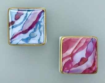 Square Covered Porcelain Trinket Box, Blue Engagement Marriage Proposal Ring Box, Pink Gift for Daughter, Pill Box for Mom