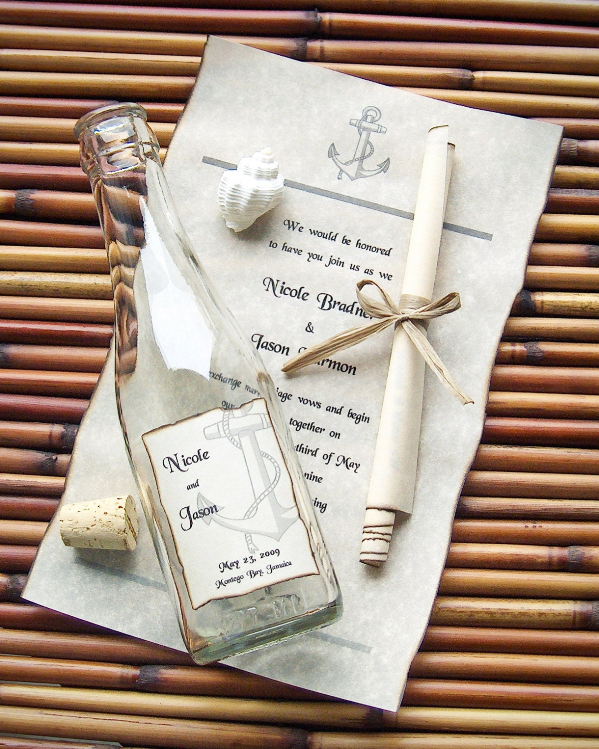 Message In A Bottle Wedding Invitations: Message In A Bottle Signature Wedding Invitation Sample