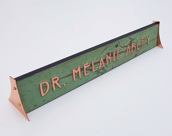 """Desk office Xmas Gift Name sign in Mackintosh/Mission font 1"""" high characters in real copper d"""