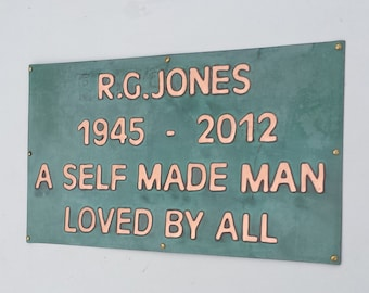"Memorial grave plaque pet name sign marker in polished and patinated  copper 1"" high Antigoni  d"