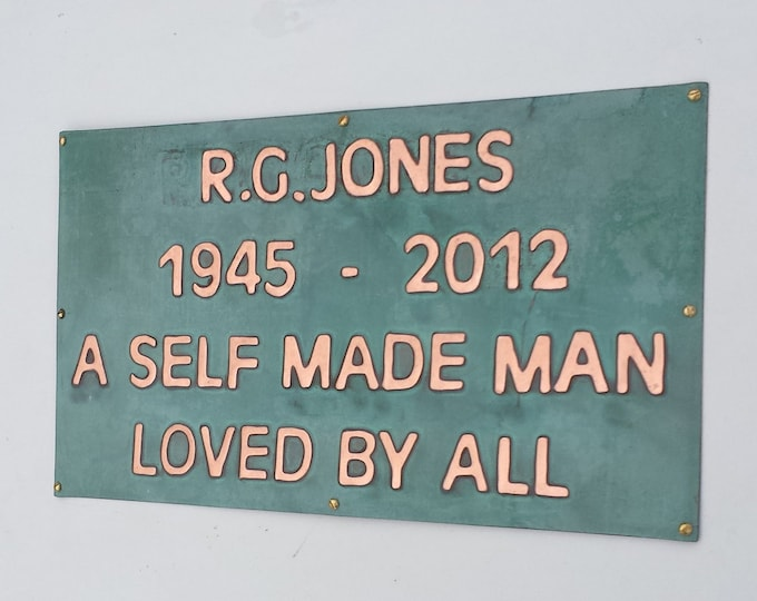Memorial plaque pet name sign grave marker in polished and patinated  copper d