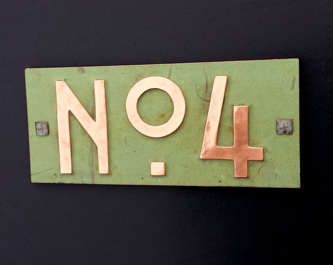 "Mission Mackintosh style green copper sign with plywood back 3""/75mm or 4""/100mm  'No' with your 1x number d"