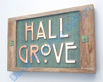 """Arts and Crafts Copper house sign with oak frame in 4""""/100mm high letters on 1 or 2 lines d"""