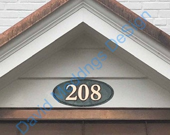 "Oval green copper House number plaque with plywood back in  1 - 5x nos  3""/75mm or  4""/100mm high in Garamond d"