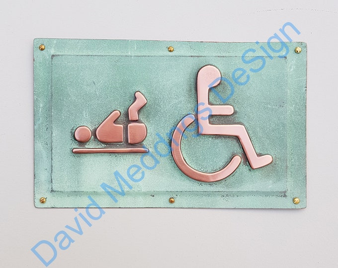 "Copper Baby changing and Wheelchair user disabled toilet lavatory sign 4.5""/115mm high polished and patinated d"