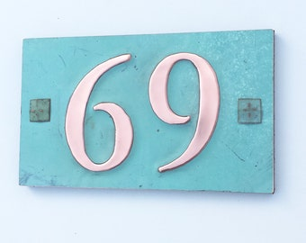 "Copper house plaque with plywood back with easy screw fixing 2x nos. 3""/75mm or 4""/100 mm high in Garamond d"