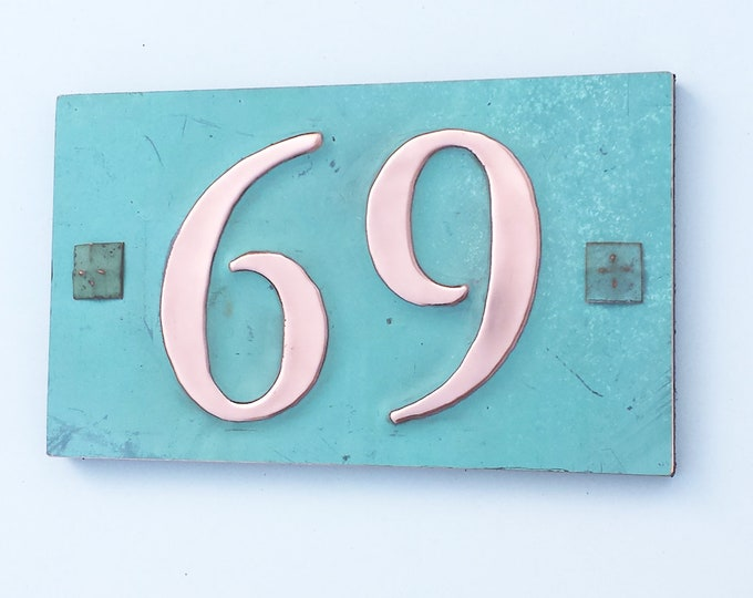 "Copper house plaque with plywood back with easy screw fixing 2x nos.3""/75mm, 4""/100 mm high in Garamond d"