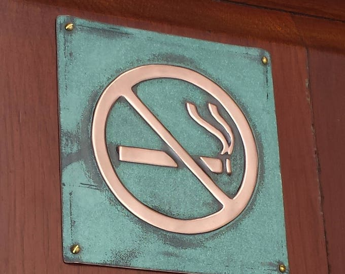 "No Smoking sign Plaque in polished patinated copper 4.5""""/115mm square d"
