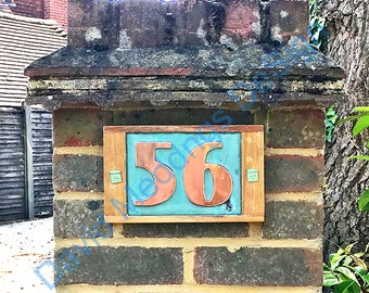 """Copper plaque in Art Deco style with oak frame, 2x nos 3""""/75mm or 4""""/100mm high,  natural materials d"""