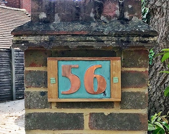 """Copper plaque in Art Deco style with oak frame, 2x nos 3""""/75mm, 4""""/100mm high,  natural materials d"""