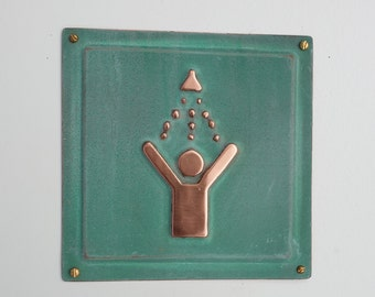 "Shower green copper sign info Plaque 4.5""""/115mm square d"