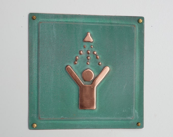 """Shower green copper sign info Plaque 4.5""""""""/115mm square d"""