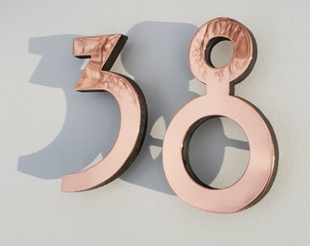 """Custom order for 47 appts in 4"""" 3D polished copper numbers Hill House font"""