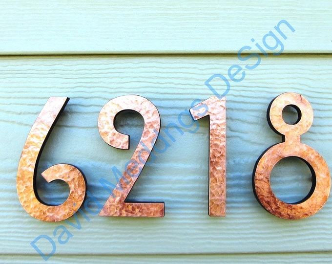 "Mission Mackintosh style floating numbers in copper, 3""/75mm or 4""/100mm high Polished, hammered or green Hill House font t"