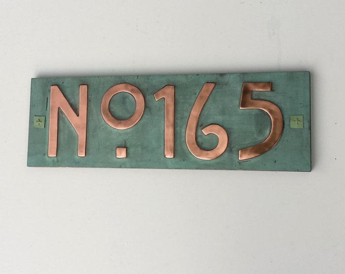 "Mission Mackintosh style house sign with plywood back, 3""/75mm, 4""/100mm high, custom made,  'No' followed by your 3 x number d"
