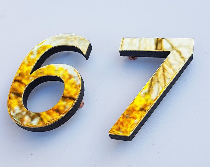 "Brass Modern style floating numbers  3""/75mm,4""/100mm high  Antigoni font d"