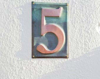"Housewarming Gift - Large Metal house  number  6""/150mm high  in polished and   patinated copper sheet, 1 x number g"