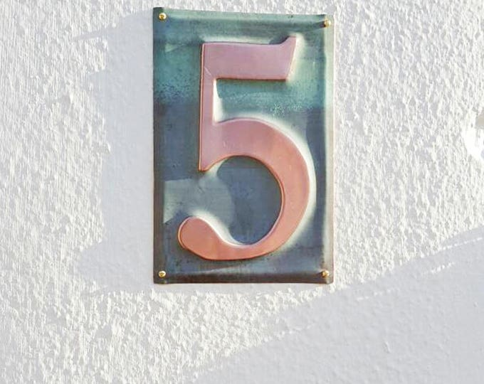 "Large Metal house  number Housewarming Gift in green copper -  1x 6""/150mm or 9""/23mm high  d"