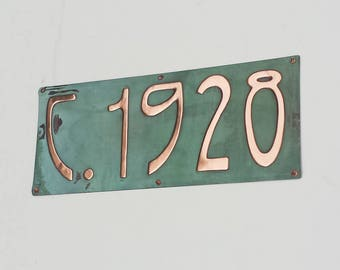 "Circa plaque historical date sign  in 4""/100mm high Rivanna in patinated copper, date stamp your property"