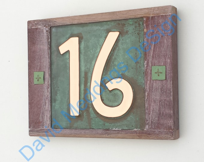 "Mission Mackintosh Oak framed Copper address plaque 2x nos 6""/150mm high house numbers d"