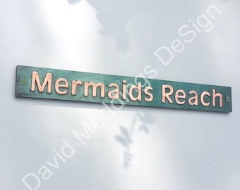 "Copper House Address Plaque Patinated  plywood backed Antigoni font 2"" high letters on one line d"