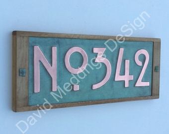 """House plaque in Mission Mackintosh Style copper with oak frame 3x or 4x numbers 3""""/75 or 4""""/100mm high  with 'No' prefix d"""