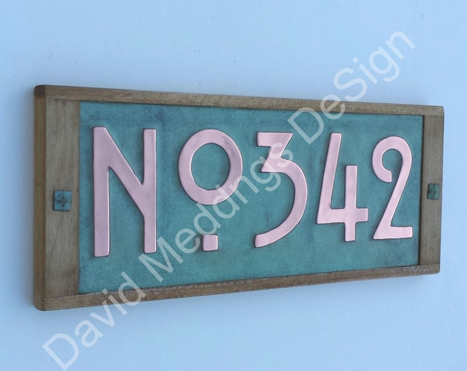"House plaque in Mission Mackintosh Style copper with oak frame 3x 3""/75 or 4""/100mm high numbers with 'No' prefix d"