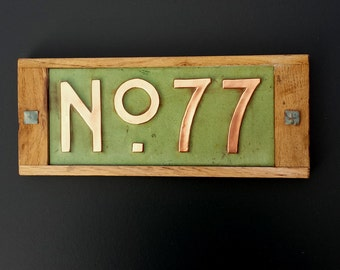 "Mission Mackintosh Custom House plaque 3""/75mm, 4""/100mm. high   2 x nos, in copper with oak frame, g"