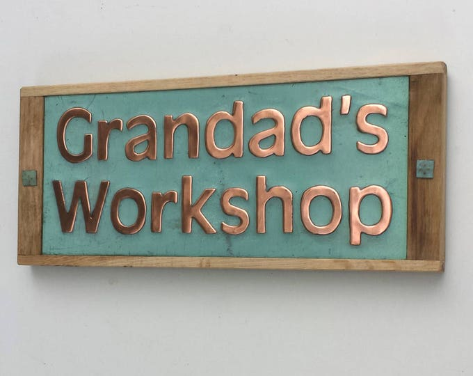 "House sign plaqe in green Copper with oak frame in 2"" high Antigoni on 1 or 2 lines d"