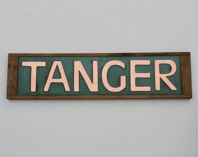 "Modern House Sign Names in Oak and Copper in CAPITALS 3""/75 mm high Antigoni d"