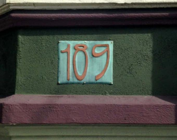 "Art Nouveau Copper house number Plaque 6""/150mm high other fonts available d"