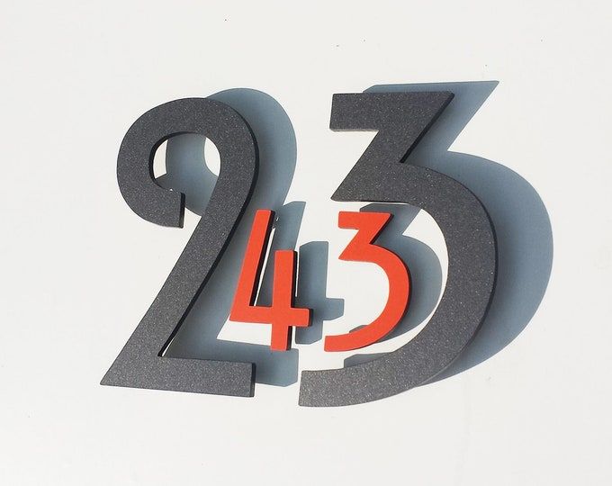 "Coloured Floating House numbers Architectural style in  Mission Mackintosh 6""/150mm high in virgin cladding d"