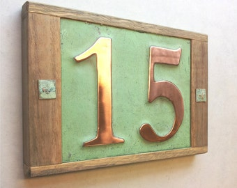 "Large copper address plaque House with oak frame 2x 6""/150mm high numbers d"
