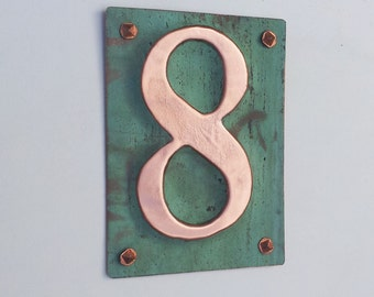 "Upcycled Metal House number Plaque in green copper 3""/75mm, 4""/100mm high nos d"