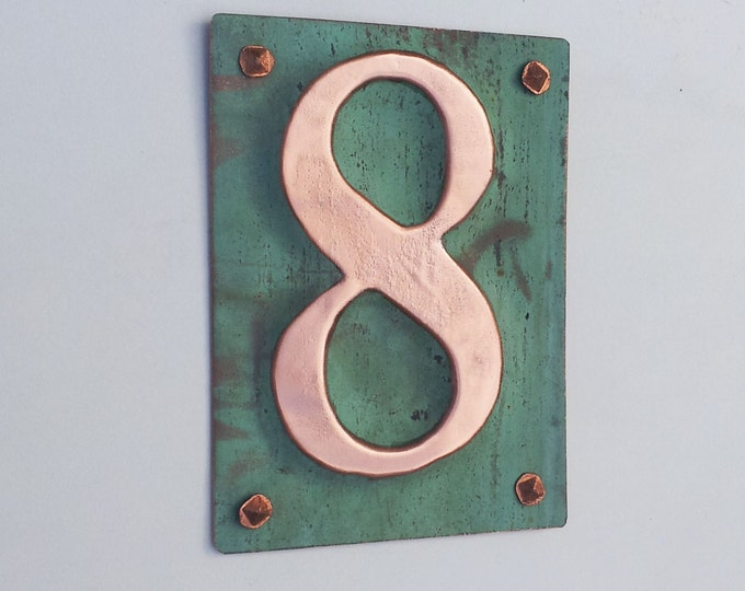 "Upcycled Metal House number Plaque in polished green copper 3""/75mm, 4""/100mm high nos. d"