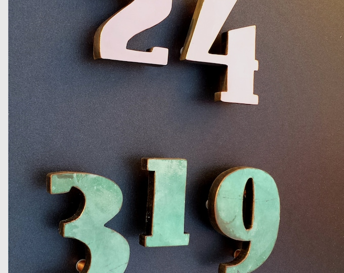 "Art Deco copper House floating numbers  green, hammered, brushed or polished 3""/75mm high in  East Market font t"