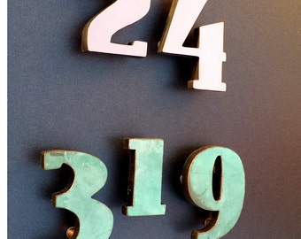 """Art Deco copper faced floating House numbers - Polished, hammered or patinated  4"""" high d"""