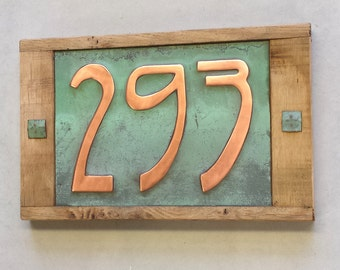 "House number Art Nouveau  plaque in limed Oak and Copper 3x nos 3""/75mm or 4""/100mm high d"