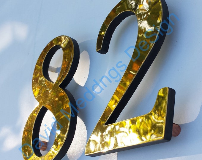 """Serif style floating numbers in brass 6""""/150mm high Garamond Polished, hammered or brushed t2u"""