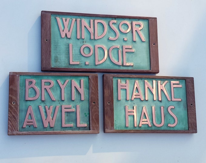 "Arts and Crafts Copper house sign with oak frame in 3""/75mm high letters on 1 or 2 lines - unique on the web"