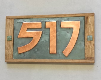 "Arts and Crafts Style plaque 3""/75mm, 4""/100mm Oak Wood and Copper House numbers,  3 x nos. in Bala font d"