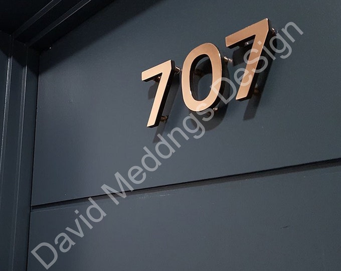"Modern House numbers copper Contemporary floating in 3""/75mm high Antigoni - Polished and lacquered d"