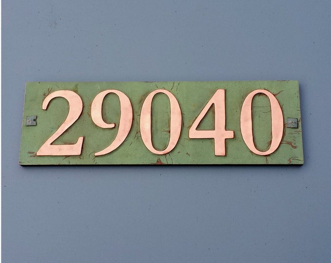 "Copper House address plaque with plywood back, 5 x nos. 3""/75mm, 4""/100 mm screw fitting for stucco, brick or timber d"