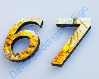 "Brass Modern style floating numbers  3""/75mm or 4""/100mm high Antigoni font polished, hammered or brushed finish tu"