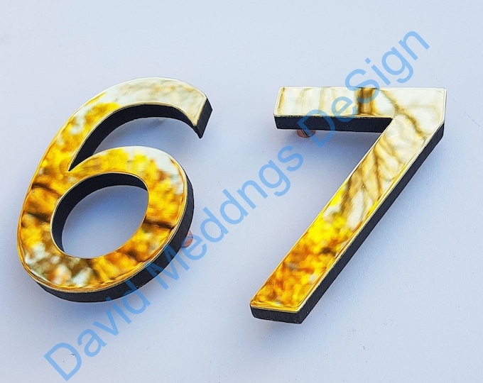 "Brass Modern style floating numbers  3""/75mm or 4""/100mm high Antigoni font polished, hammered or brushed finish t"