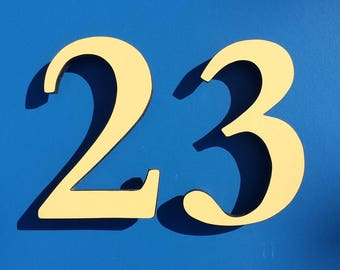 "Coloured House floating numbers standoff in 6""/150mm high in Garamond font in 50 year rated cladding d"