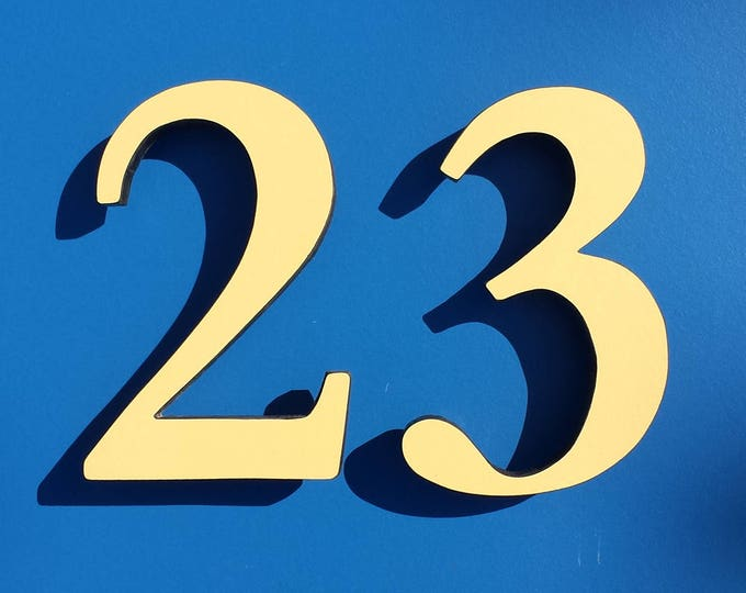 "Serif Coloured House floating numbers,  6""/150mm high in Garamond font,  standoff floating in resin board g"