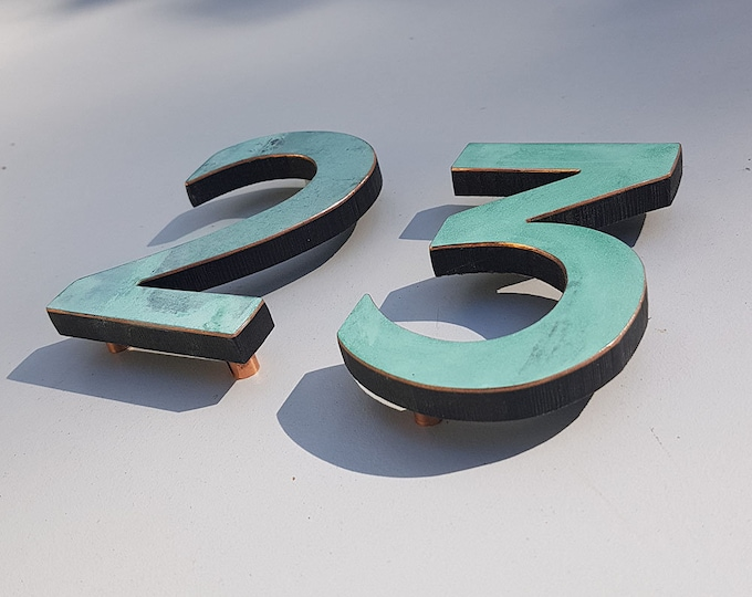 "Modern green or hammered copper House numbers floating, 4""/100mm high in  Antigoni font t"